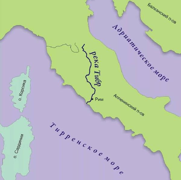 Река Тибр на карте