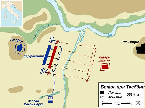 Схема битвы при Требии