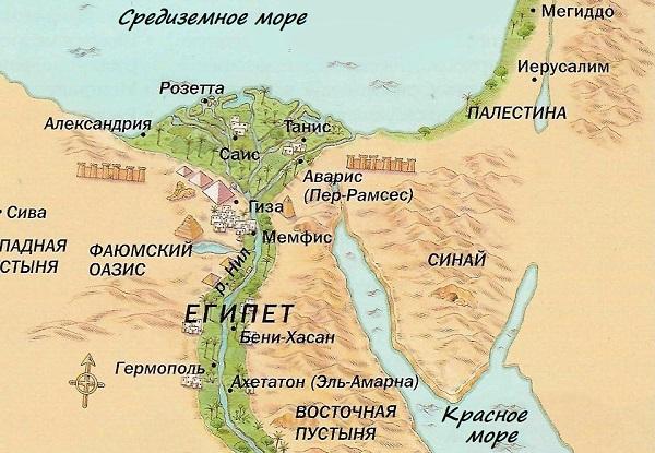 Древний Египет на древней карте
